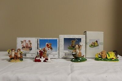 WOW New in Box -  Assortment of 4 Charming Tails Spring Chimpunks
