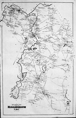 1879 Map of Middleboro Massachusetts MA with detailed map of downtown area