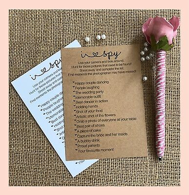 Personalised I Eye Spy Camera Wedding Table Cards Trvia Game Favour Activity Kid