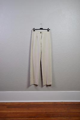 NWT Made in Italy Cream Beige High Waisted Wide Leg Pants Trousers Suit Pant 6 8