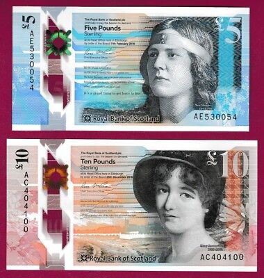 ROYAL BANK OF SCOTLAND - NEW £5 and £10 POLYMER 2016 and 2017 - BOTH UNC