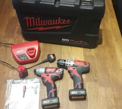 Quality Milwaukee M12 12V Impact Driver + 12V Drill Driver Twin Combo Set + Case