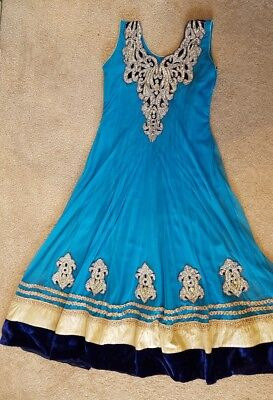 Indian Pakistani Bollywood Party wear Ladies Pjyami Suit Blue