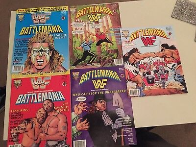 WWE (WWF) Battlemania Comics. All 5 Issues. Mint Condition (No Poster)
