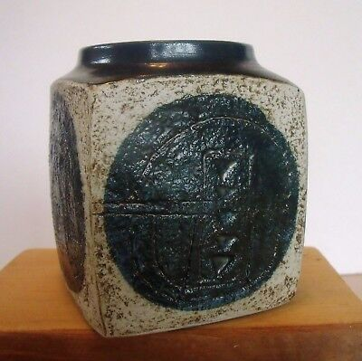 Fabulous early St Ives Troika Marmalade Pot decorated by Ann Lewis, date 1969-70