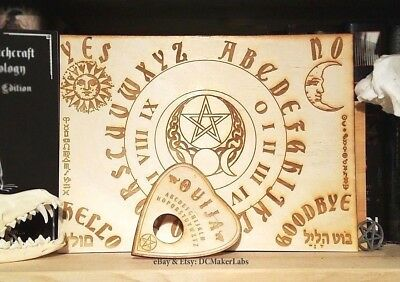 "Engraved 11""x8"" Wooden Ouija Board & Planchette halloween pentacle occult wicca"