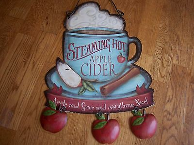 'Steaming Hot Apple  Cider' 1 sided sign for hanging on the wall