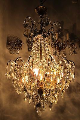 Antique Vnt French Big Spider Style Crystal Chandelier Lamp 1940s 18in diametr--
