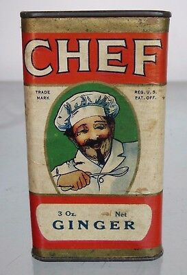 "CHEF GINGER SPICE TIN - 3 oz. - TOLEDO, OHIO - 4"" TALL - PAPER LABEL - NICE TIN"