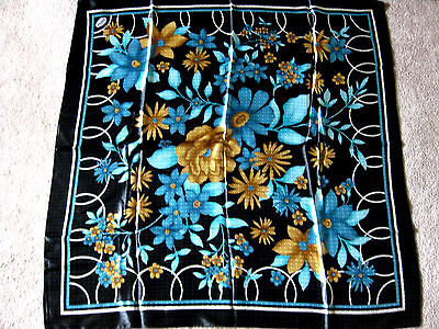 "NWOT blue black brown floral 37"" square hijab head neck scarf cover Islam Abaya"