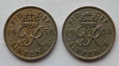 """1950 UK / Great Britain Six Pence Coin """"Lot of 2 coins""""  KM#875 SB4961"""