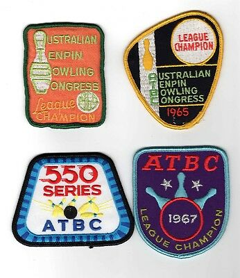 Vintage - Four (4) Tenpin Bowling Cloth Patches - Freepost