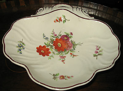 Antique : An early 19th century Shell Platter, Hand Painted with flora