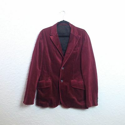 VTG BENETTON Red Wine Velvet 2 Button Single Breasted Sports Coat Blazer Jacket