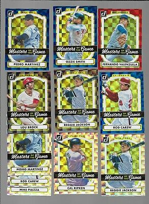 LOT OF 11-2017  DONRUSS MASTERS OF THE GAME RED/BLUE SILVER all #d JAX RIPKEN