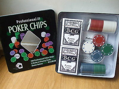 New Sealed Metal Tin 100 Professional Poker Chips & 2 Card Decks +Dealer Button