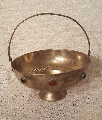 Antique Compote Metal Bowl with Cabochon Stones