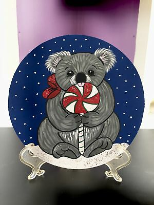 Original Adorable Holiday Koala With Lollipop Painting On Wood By Barbi