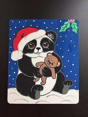 Original Adorable Holiday Panda With Teddy Bear Painting On Wood By Barbi