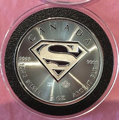 Superman Canadian $5 Coin Proof Like Round 1 Troy Oz .9999 Fine Silver Medal