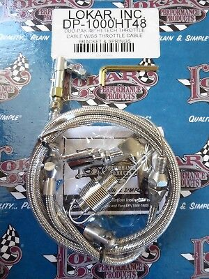"LOKAR Hi-Tech 48"" DUO-PACK stainless steel throttle cable & BRACKET"