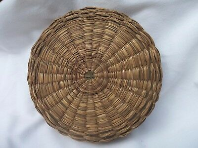 Vintage or Antique Sweet Grass ? ~ Sewing Notion Basket with Lid EUC
