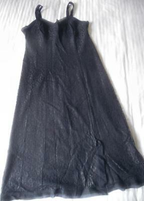 Vintage 1960'S Jeannette Dark Midnight Blue Lace Over Nylon Full Slip Size W