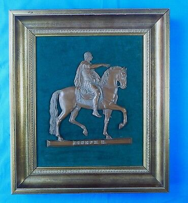 Antique Old Austrian Bronze Framed Figurine Plaque Joseph II Holy Roman Empire