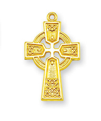 Gold Plated Over Sterling Silver Celtic Irish Knot Cross Necklace w/18'' Chain