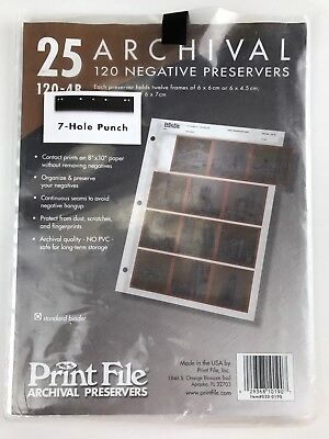 NEW Print File 13 Archival 35mm Negative Preservers, Sleeves Pages 120-4B. A7