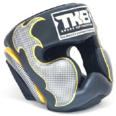 Top King Head Guard Empower - MUAY THAI BOXING Black Gold Sparring Headguard