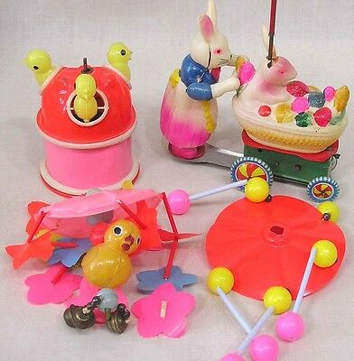 Vintage LOT Easter WU Plastic Toys for Parts Need TLC Bunny w Cart Pop Up Chicks