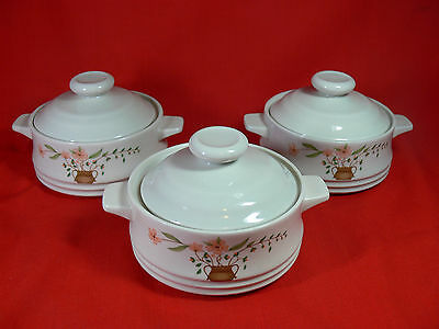 VINTAGE Countryside Stoneware Collection Casserole Dishes & Lids x 3 Japan - NEW