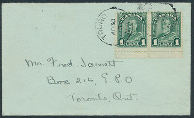 1931 #163ii 1c Geo V Arch Major Re-entry in Pair on Truro to Toronto Cover