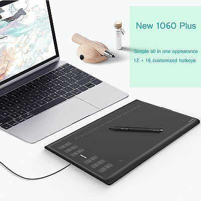 Huion New 1060Plus Graphic Drawing Tablet Art Pen Upgrade 8GB 12 HotKey AU Stock