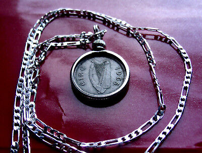 """1967 IRISH LUCKY RABBIT COIN PENDANT on a 26/"""" 925 STERLING SILVER Chain"""