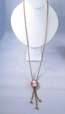 Vintage Long Slide Style Shell Cameo Gold Filled Necklace