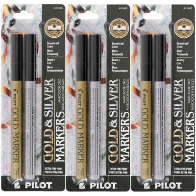 3 sets of Pilot Gold and Silver Permanent Markers, Extra Fine Point (41400)