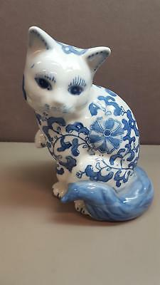 VINTAGE Ceramic CAT Figurine White Porcelain with BLUE FLORAL Statuette Stamped