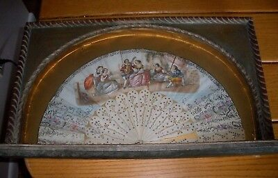 Antique Ladies Fan In Shadow Box Display Case ~ Signed Suzanne ~ As Is
