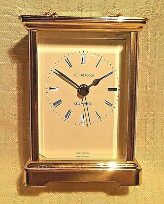 Vintage C. D. Peacock Brass Table Clock No. (0) Jewels