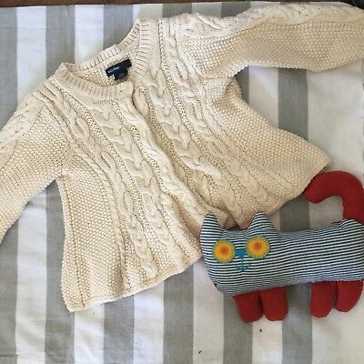 Baby Gap CHUNKY Cable Knit Button Cardigan French Vanilla SWEATER 12-18 Months