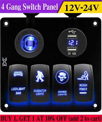 Car 4 Gang Rocker Switch Voltmeter LED Light Double USB Power Charger Adapter