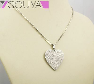 Vintage Engraved Silver Plated Big Love Heart Pendant Necklace Women Jewelry