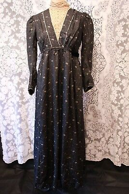 Antique Black Silk Victorian Dress with Lace Trim Collar and Cuffs Flower Print