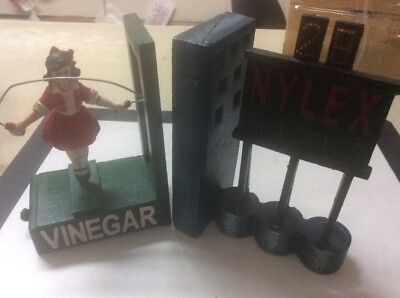 Cast Iron Skipping Girl And Nylex Clock Bookends