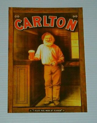 Carlton Draught Beer new cardboard original postcard for home bar collector