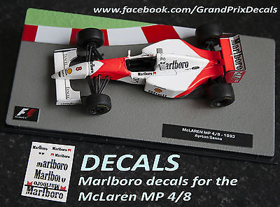 Formula F1 Car Collection water slide DECALS - MARLBORO McLaren MP4/8 Senna IXO