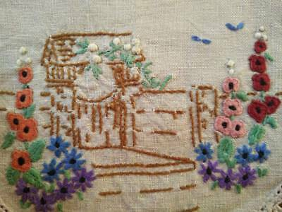 Vintage Gate Arbour/English Cottage Garden ~ Hand Embroidered Doily