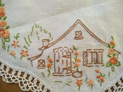 Charming Cottage & Hollyhock Cottage Garden ~ Vintage Hand Embroidered Doily
